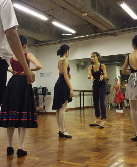 Rehearsing Character Dance with students from Russian Ballet Academy in Singapore.